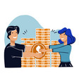 man and woman saving money couple with coins vector image vector image