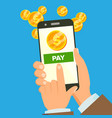 mobile payment hand holding smart phone vector image