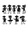monkeys rare animal silhouette cartoon vector image vector image