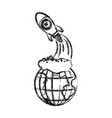 monochrome blurred silhouette of earth globe and vector image vector image