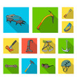 mountaineering and climbing flat icons in set vector image