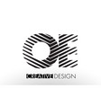 oe o e lines letter design with creative elegant vector image vector image