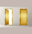 open and closed golden doors vector image