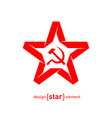 origami red star with socialist symbols on white vector image vector image