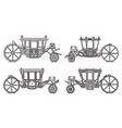 outline medieval royal carriage icons retro coach vector image vector image