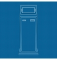 Payment kiosk outline icon on blueprint vector image