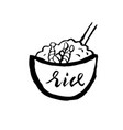 rice with prawn icon grunge ink brush vector image vector image
