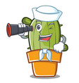 sailor cute cactus character cartoon vector image vector image