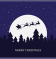 santa claus rides in a sleigh with their reindeer vector image vector image