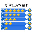 Score bar with stars on blue banner vector image vector image