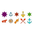 sea element icon set color outline style vector image