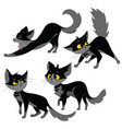 set of black cats collection of cartoon cats for vector image vector image