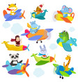 set of funny cartoon planes with cute pilots vector image