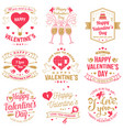 set of happy valentines day sign stamp card with vector image vector image