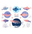 set tropical unusual colorful fishes vector image vector image