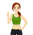 sport woman pointing up vector image vector image