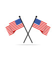 two crossed american flags vector image vector image