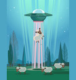 ufo stealing sheep character vector image