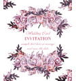 vintage wedding card with roses wreath vector image vector image