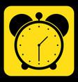 yellow black information sign - alarm clock icon vector image