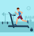 young man on running track fitness vector image