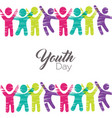 youth day card of diverse people in colorful art vector image