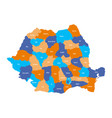 administrative counties of romania simple flat vector image