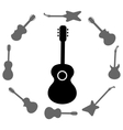 Set of Guitars Silhouettes vector image