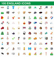 100 england icons set cartoon style vector image