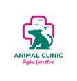 animal clinic logo design template vector image vector image
