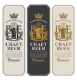 beer labels with full beer glass and wheat ears vector image vector image
