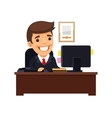 Boss Sitting at His Desk vector image vector image