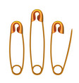 bright glossy golden safety pins isolated on white vector image vector image