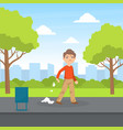 bully boy littering in park kids aggressive vector image vector image