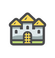 castle ancient stone building icon cartoon vector image