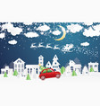 christmas village and santa claus in sleigh in vector image vector image