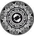 circular ornament delf and shell black and white vector image vector image