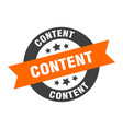content sign content orange-black round ribbon vector image vector image