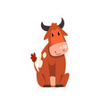 cute brown spotted cow sitting on the ground vector image vector image