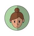 face cartoon girl green rings green background vector image