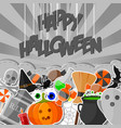 halloween banner with flat sticker background gray vector image vector image