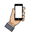 hand holding a smartphone on white background vector image
