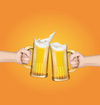 hands holding glass mugs with beer raised in a vector image vector image