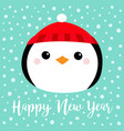happy new year penguin round head face icon red vector image vector image