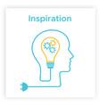 head silhouette lightbulb creative idea concept vector image