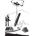 helicopter carry wood timbers in forest vector image vector image