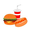 isolated dinner fast food menu vector image vector image
