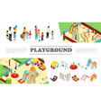 isometric kids playground elements collection vector image
