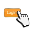 Mouse hand cursor on login button vector image vector image