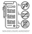 Non-disclosure agreement line icons vector image vector image